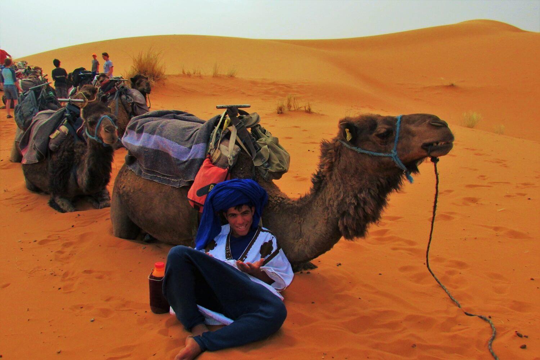o guia do passeio de camelo no deserto do sahara