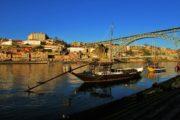 traditional rabelo boat at douro river in porto