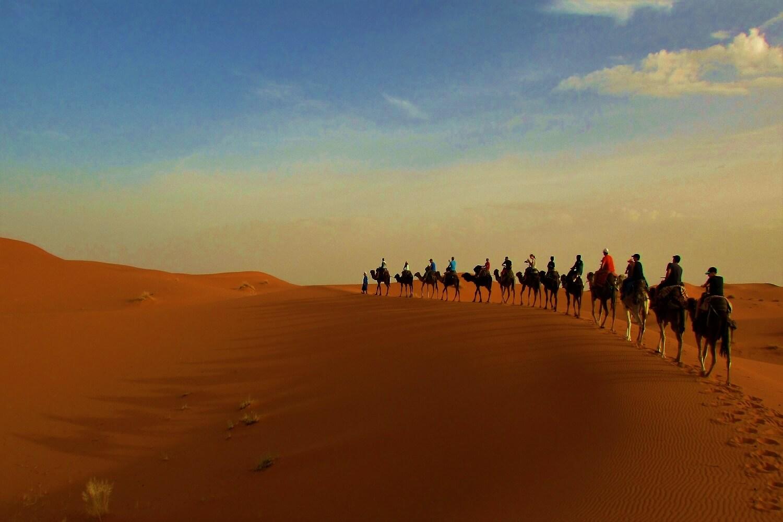 passeio de camelo a caminho do acampamento em pleno deserto do sahara