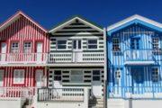 the beautiful colorful houses at Costa nova